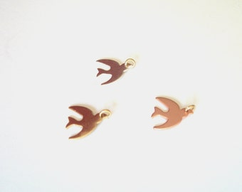 Personalized Metal Jewelry Tag - Flying Bird Charm in Gold, Silver, and Copper Tones. Extremely Limited Edition