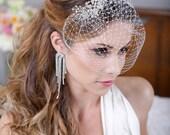 Silver Crystal Birdcage Veil, Silver Crystal Bird Cage Bridal Veil, Crystal Bird Cage Veil, Silver Rhinestone Wedding Veil - The Felina Veil