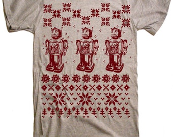 SALE - Robot Ugly Christmas Sweater TShirt Funny Geek Geekery Nerdy Science Gift Present Nerd Vintage Tee Birthday Graduation Gift Idea - M