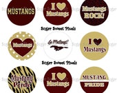 INSTANT DOWNLOAD Mustangs  2  School Mascot Maroon and Vegas gold  1 inch Circle Bottlecap Images 4x6 sheet