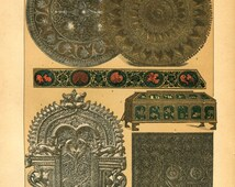 1894 Antique Print , Artifacts of India, Original Color Lithograph