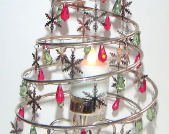 Vintage Christmas Tree With Charms,Spiral,International Silver Company,Silverplated,Christmas Decoration