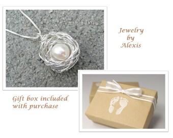 Birds Nest Necklace Sterling Silver