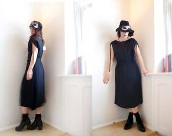 Vintage 80s Black Dress German designer Deadstok Butterfly top Dress, Vintage dress Black Rock Mod Fairy Hipster Gothic