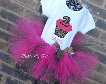 Hot Pink Cheetah Birthday Cupcake Tutu Outfit, Hot Pink and Cheetah Cupcake Party Outfit, Hot Pink and Cheetah Tutu Set