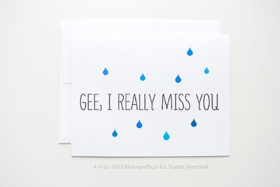 """Missing you Card """" Gee, I really Miss you """" Greeting Card. I miss you Card. Long Distance Relationship Card."""