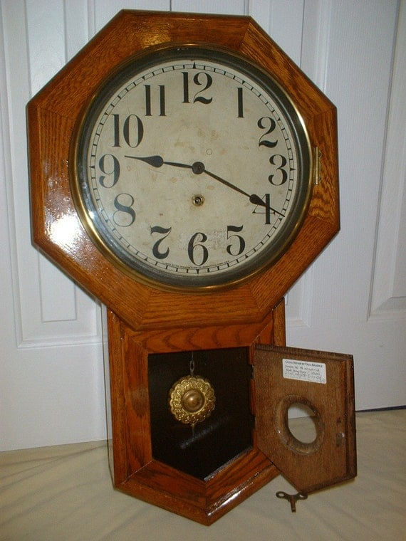 Rare Antique Sessions Clinton Schoolhouse Wall Regulator
