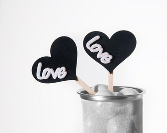 "Black Velvet Heart Cupcake Toppers with White Glittered ""Love"" for Weddings, Bridal/ Baby Showers and Birthday Parties - Set of 12"