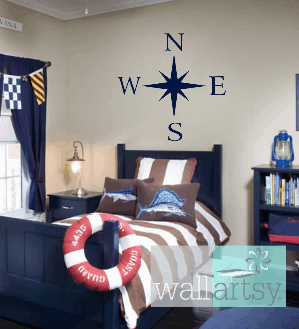 Compass wall decal nautical vinyl wall decals sailboat girl for Boys room wall mural