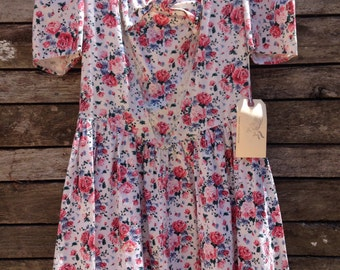 1980's 'Country Romance' Floral Bow Front Mini Dress