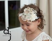 Ivory floral spring roseVintage Headband/Child Headband /baby Girl Headband /Photo prop Headband