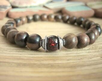 Mens Mala Bracelet - Mens Wood Bracelet with Garnet Bead, Tiger Ebony Wood and Silver, Mens Gift