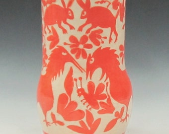 Handmade VASE OTOMI Animals - SGRAFFITO Carved - Inspired by Mexican Folk Art - Customize Colors - Artist Carved Vase