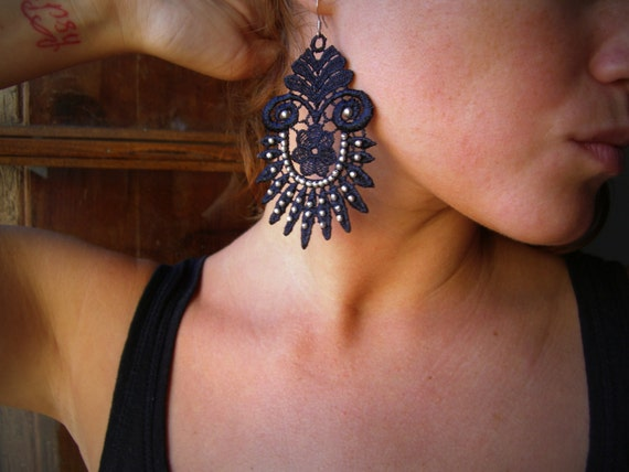 Black Lace Earrings - Embroidered silver metal beads