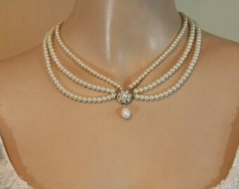 Pearls Bridal Necklace Wedding Jewelry Pearls Necklace Vintage style Victorian Wedding Bridal Choker Wedding Necklace drop pearl necklace