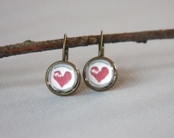 Heart  Earrings,Glass Cabochon, Valentines Day, Red Heart Earrings,Glass Dome Earrings, Antique Bronze, Light Earrings,Dangle