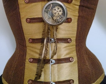 Steampunk Sepia Circus Corset in Gold and Brown Leather look buttons XS XXS Ringmaster, Military, Marching Band, Burlesque