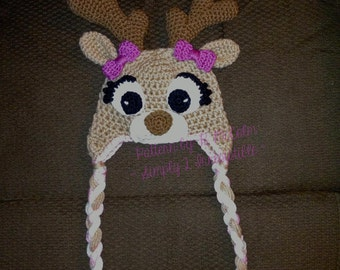 Deer or Elk Hat - Crochet Pattern 58 - US and UK Terms - Instant DOWNLOAD