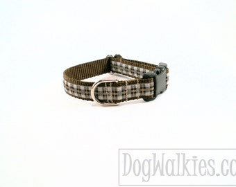 """Papas Favorite Plaid Dog Collar - 3/4"""" (19mm) Wide - Quick Release or Martingale Dog Collars - Choice of collar style and size // Brown"""