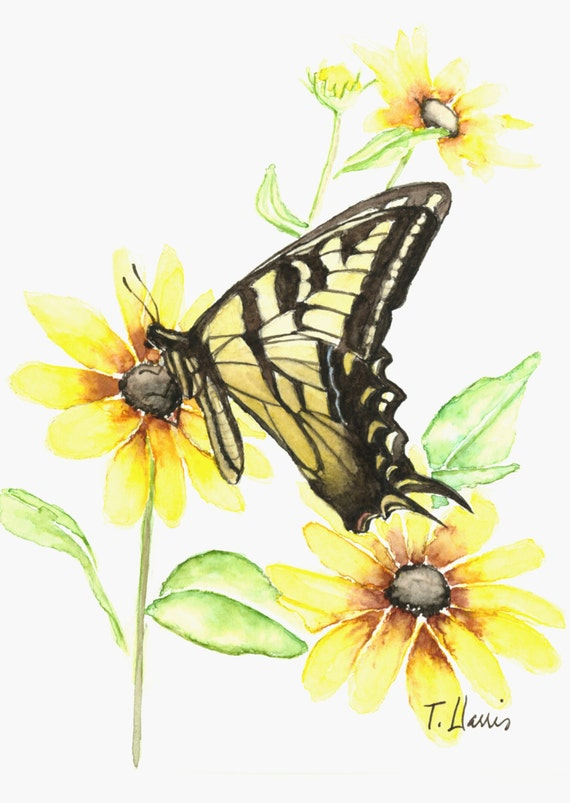 Butterfly painting, 5X8 original watercolor painting, art and colllectibles, butterflies, home decor, art,  Earthspalette