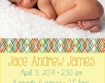 Digital Baby Birth Announcement Custom Birth Announcement, Girls Birth Announcement, Boy's Birth Announcement Plaid Spring Summer