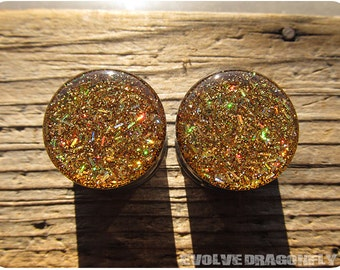 Gold Blitz Glitter Plugs - 2g, 0g, 00g, 7/16, 1/2, 9/16, 5/8, 3/4, 7/8, 1 Inch