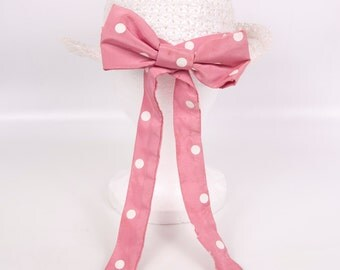 Vintage Girls Straw Hat White Pink Polk A Dot Ribbon Bow Wall Hanging