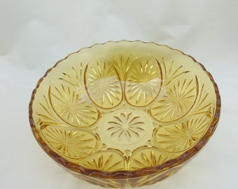Anchor Hocking Star and Cameo Medallion Bowl Amber Glass Serving Dish