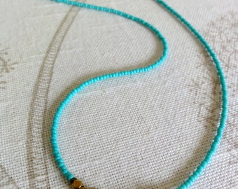Turquoise & Brass Beaded Necklace - Turquoise wrap bracelet
