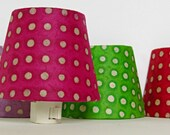 Hot Pink Lamp Shade Night Light - Pink and White Polka Dot Nightlight - Teen Girl Room Decor Accent Lighting -  Hot Pink Nursery Decor