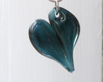 Blue Heart Pendant Hand Blown Glass Jewelry, Lampwork Boro  Necklace SRA Sparkling Blue
