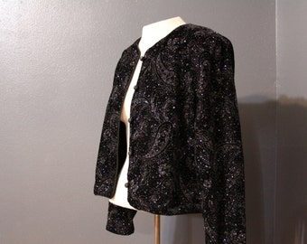 REDUCED /// Vintage 1980s/Early 1990s Black Glitter Sparkle Jacket