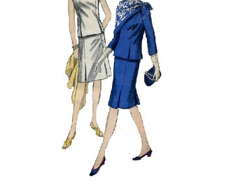 Vogue 6260 Sewing Pattern Mad Men Style Fashion 1960s Kick Pleat Straight Skirt High Neck Blouse Secretary Suit Bust 34