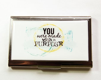Business Card Case, Card case, business card holder, Inspirational Words, Purpose of Life, Accessories for Work, For the office (3129)