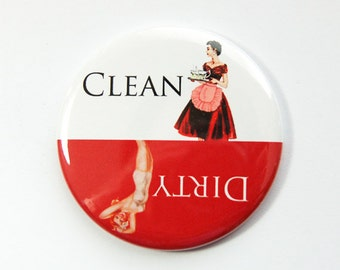 Clean Dishes, Dishwasher magnet, Red, White, Pinup Girl, kitchen magnet, clean dishes magnet, Dirty Dishes, Magnet, Kellys Magnets (3555)