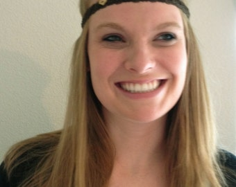 Headband : Brown Laced Cording with Heart Button
