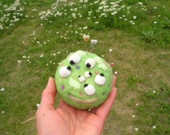 Sheep in the field needle felted pin cushion