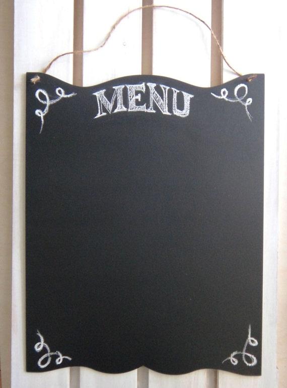 articoli simili a scheda di gesso cucina rustico segno ampio menu di lavagna in bianco con la lavagna di spago iuta per oggettistica per la casa chalkstyle