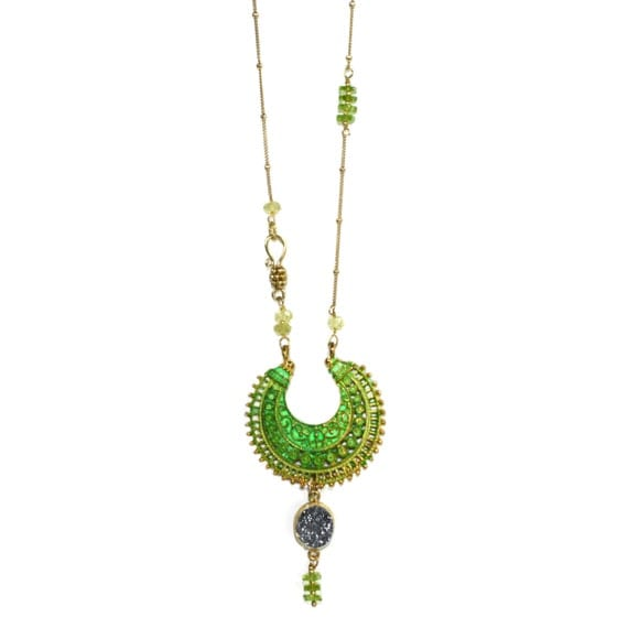Element Earth. Indie Necklace. Tribal Crescent, Druzy Necklace. Gold Filled Chain, Green Tourmaline. Crescent Pendant.