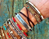 "Leather Cuff Wrap Bracelets with Inspirational Metal Tag - ""Possibility Begins with Imagination"" Adjustable Boho Layering Cuffs - ThreeBirdNest"
