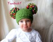 Green Saint Patrick's Day Double Pom Pom Hat-St Patty's Baby Hat Photo Prop