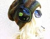 Mens Beanie Slouchy Gaming Beanie Brown Green stripes Handmade Slouch Hat Under Headset Crochet baggy Hat Geeky 'JUNGLER'