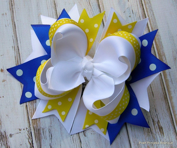 Yellow and Blue Stacked Boutique Hair bow, Hair bow, Hair bows, Hairbows, Boutique hair bow, Big hair bows, Custom, Made to Match Hair Bow