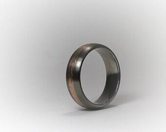 Titanium and 14K Rose Gold Chevron Men's Band 7mm Wide