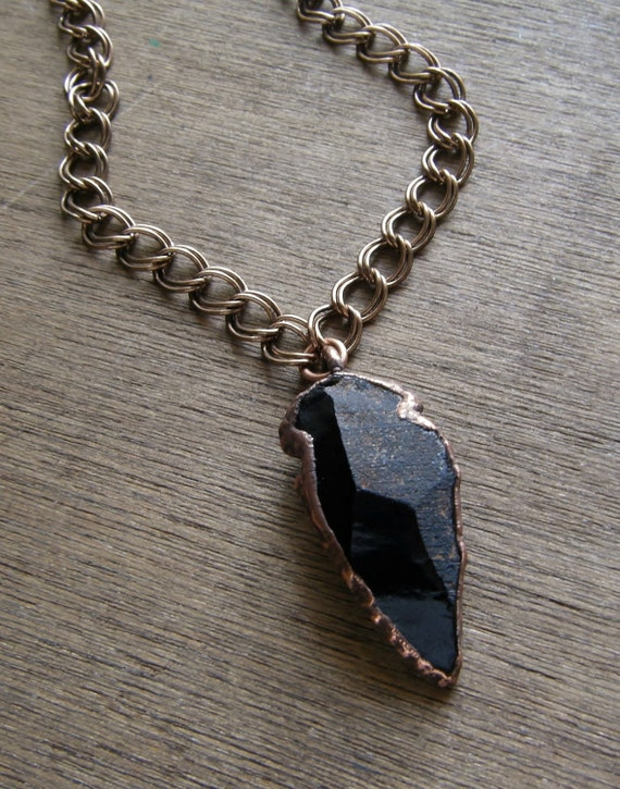 Black Obsidian Arrowhead Necklace Industrial Copper