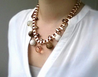Fire Cherry Quartz and Magnesite Bib Necklace, statement necklace, champagne gold-plated box chain