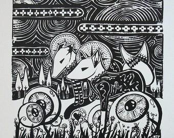 Black and white fox - black and white screenprint - Cosmic Foxes - fine art - animal art - art for nursery - foxes art - psychedelic art