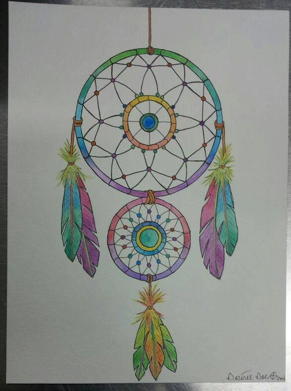 Articoli simili a dream catcher in watercolor ink and for Acchiappasogni disegno