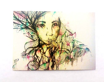 Zen ACEO illustration art card. Portrait illustration artist trading card. Nature inspired portrait art print. ACEO abstract portrait print