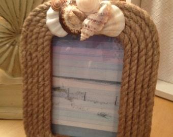 Seashell Nautical Rope Frame/Coastal Photo Frame/4x6 Picture Frame